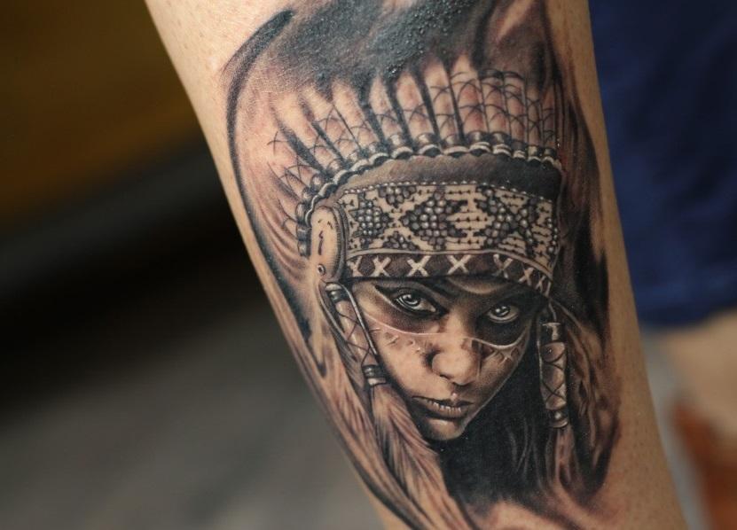 Nativeamericanredindiangirltattoodesignonanklebybest